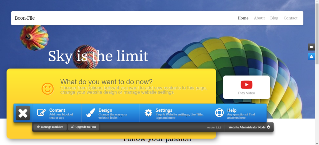 Use our simple website builder