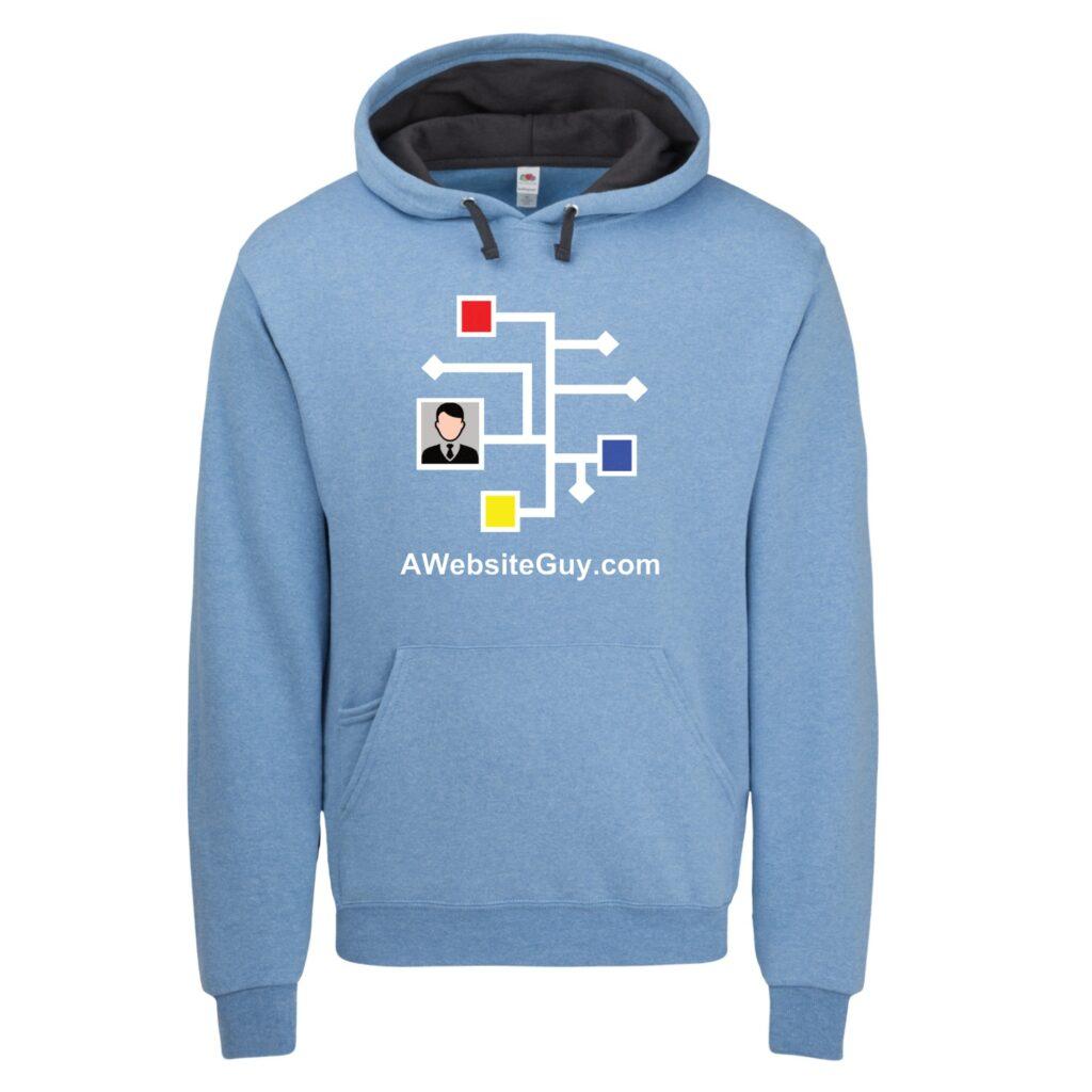 heather blue hoodie