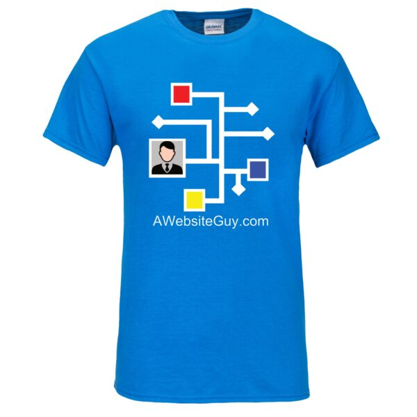 AWebsiteGuy neon blue tee shirt